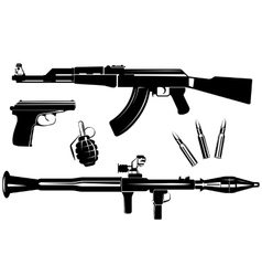 Set of firearms vector