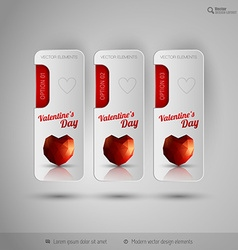 Valentine tabs with polygonal heart design vector image