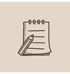 Writing pad and pen sketch icon vector