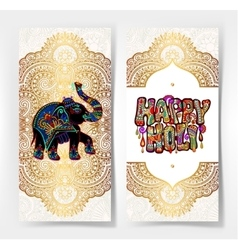 Original happy holi design with elephant on floral vector