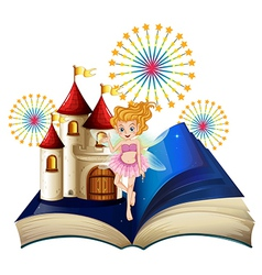 A storybook with a fairy a castle and fireworks vector