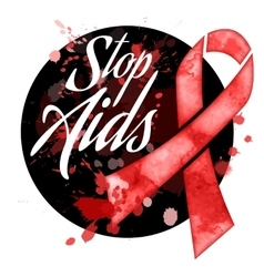 Aids day red ribbon grunge icon vector image vector image