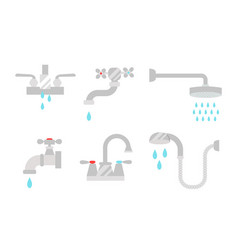 bathroom shower icons with process water savings vector image vector image