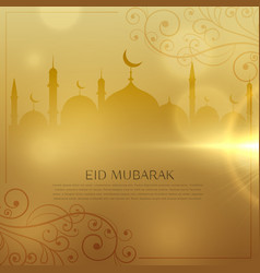 beautiful golden background for eid mubarak vector image vector image