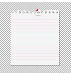 blank note paper on transparent background vector image vector image
