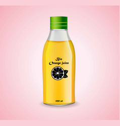 bottle of orange juice realistic product vector image