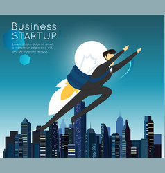 Businessman superhero flying fast for business vector
