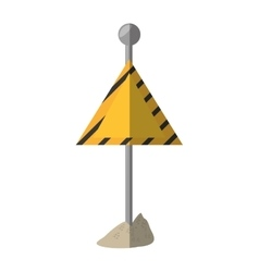 Cartoon sign road caution triangle vector