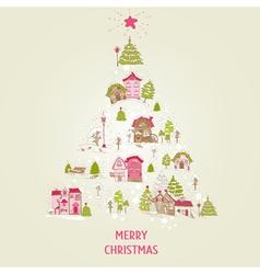 Christmas card with christmas houses vector