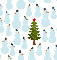 Christmas pattern Snowman and Christmas tree vector image