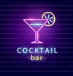 Cocktail bar neon logo vector