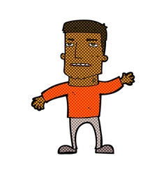 Comic cartoon waving stressed man vector