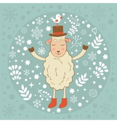 Cute winter card with sheep and bird vector