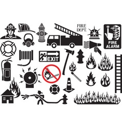 Fire Fighter Icon Set vector image vector image