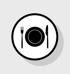 Fork knife and plate sign flat black vector