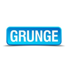 Grunge blue 3d realistic square isolated button vector image