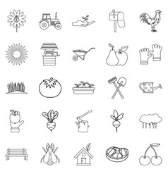 Hamlet icons set outline style vector