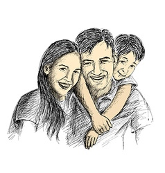 Hand sketch of happy family parents and children vector