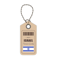 hang tag made in israel with flag icon isolated on vector image