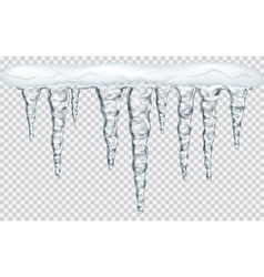 Hanging translucent icicles with snow vector