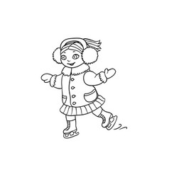 happy little girl ice skating black and white vector image vector image