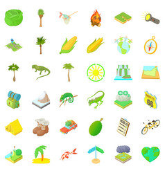 Hiking nature icons set cartoon style vector