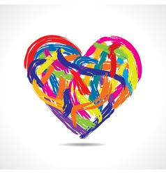 Love concept-colorful heart with paint strokes vector