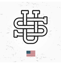 Made in usa monogram vintage america logo vector