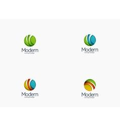 Modern cirlce company logo clean glossy design vector
