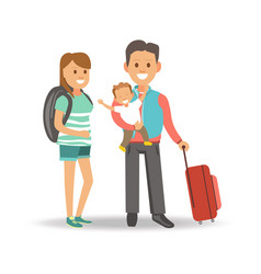 mother with backpack and father with son and vector image vector image