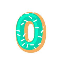 Number 0 donut doughnut font zero sweet alphabet vector