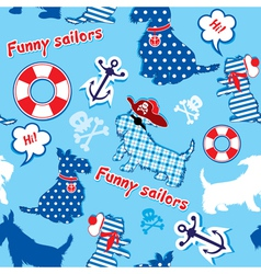 Seamless pattern with funny scottish terrier dogs vector image