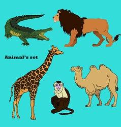 set with africa animalsbeasts of savanna vector image