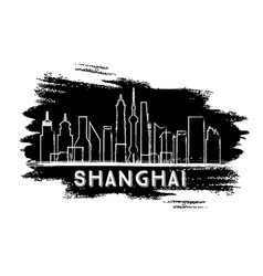 shanghai skyline silhouette hand drawn sketch vector image