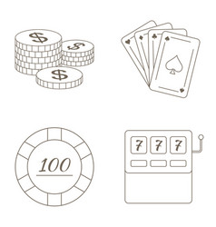 simple set of gambling related line icons vector image