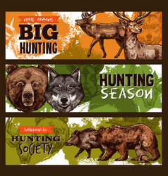 sketch banner for wild animals hunting club vector image vector image
