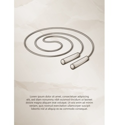 Skipping rope vintage label logo frame vector