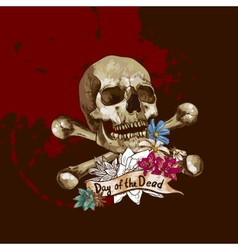 Skull and Flowers vector image vector image