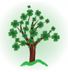 tree with four leaf clover vector image vector image