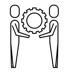 two businessmen holding gear teamwork concept vector image