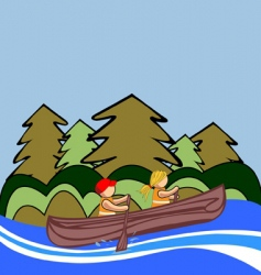 Two kids canoe vector