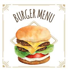 watercolor burger for menu design vector image vector image