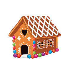 xmas colorful gingerbread house vector image vector image