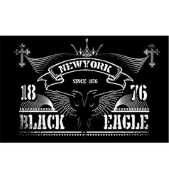 Vintage label black eagle vector