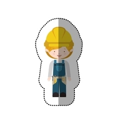Sticker avatar worker with toolkit and blond hair vector