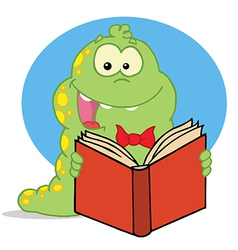 Green caterpillar reading an entertaining book vector