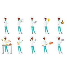 set of chef-cooker characters vector image