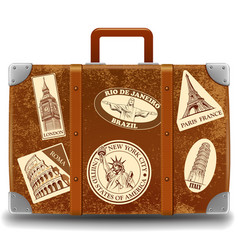 Vintage brown travel suitcase with retro stick vector
