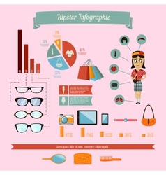 Hipster infographics elements set with geek girl vector