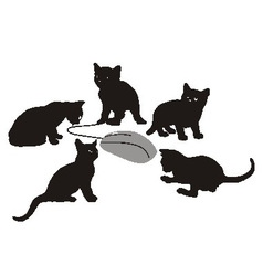 Kittens is hunting for computer mouse vector image